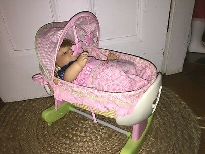 Retired Fisher Price Little Mommy Sleep Bassinet Cradle Crib Fits Bitty Twin