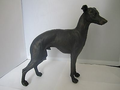 Greyhound figure standing pose painted polyresin bronze effect new boxed