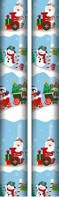 10m 2x5m Roll Santa & Friends Christmas Gift Wrapping Paper - Red Santa Faces
