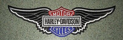 Harley Davidson black wing red white blue shield patch. 11 inches. New