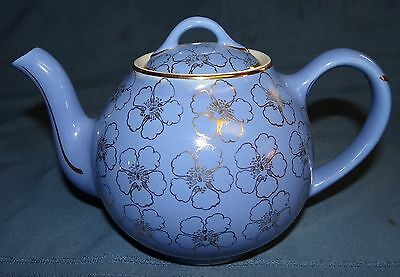Hall Pottery 6 Cup Teapot French Flower Blue Gold Design 049 Vtg Floral Pansy