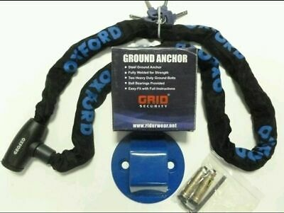 Grid Ground Anchor With Oxford Gp Chain Lock Motorbike Motorcycle Security New