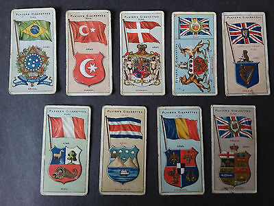 Players COUNTRIES ARMS and FLAGS 1912 (Blue Back) - 9 Cigarette Cards