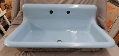 "Rare Antique 36"" Cast Iron Powder Blue Porcelain Farm Sink Vtg Standard 2039-16"