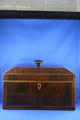 Large Early Victorian Mahogany Tea Caddy With 3 Internal Lidded Compartments