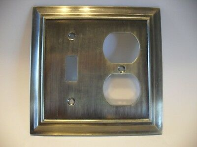 Antique BRASS Metal SWITCH / OUTLET Combo Wall Cover Plate Heavy Weight 7 oz.
