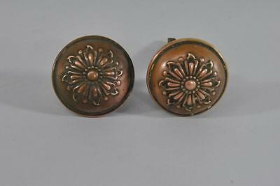 Antique Set Of Victorian Brass Door Knobs Floral Detail