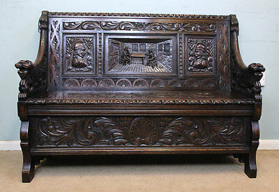 Antique Victorian Carved Oak Settle / Monks Bench / Box Settle Hall Seat