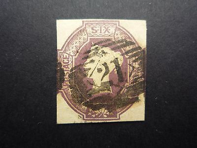 SG59 6d Dull Lilac Embossed Cut Square Scarce with good margins