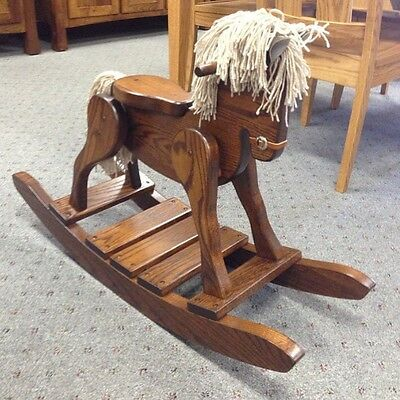 Childs Deluxe Wooden Rocking Horse Amish Built Solid Oak Wood Kids Toy!