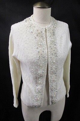 VTG 1950s ANGORA WOOL HAND BEADED SEQUIN WHITE CARDIGAN SWEATER HONG KONG