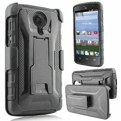 For ZTE Uhura Ultra Quest N817 - Hybrid Armor Phone Case Kickstand Clip Holster
