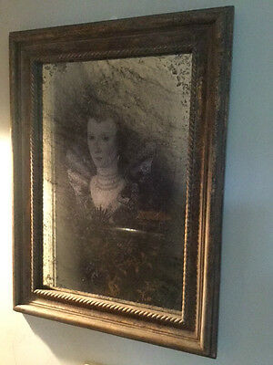 Very Unusual Lady 'Ghost In The Mirror' Antique Style Large Wall Mirror Picture