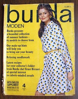 Vintage Burda Moden April 1969 magazine w/ uncut patterns and English supplement