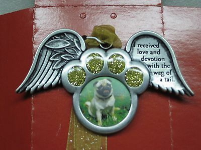 Gloria Duchin Pewter Pet Photo Frame Ornament. Paw with Angel Wings