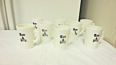 Lot 8 Older McKee marked White MilkGlass Tom & Jerry Mugs/Cups-Punch Bowl Style