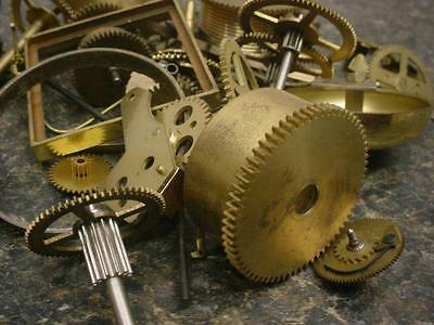 2-3/4 lbs Watchmaker  Alarm Mantel Clock Gears Parts Steam Punk AlteredArt E586