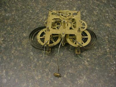 Old Waterbury Vintage Brass Mantle Wall Clock Kitchen Movement Time Strike E468