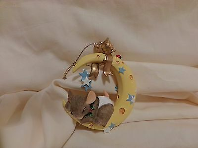Charming Tails Baby Mouse Sleeping On The Moon & Stars Ornament Dean Griff(14)