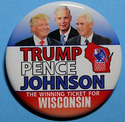 2016 Wisconsin- Trump, Pence, Johnson  Campaign Pin