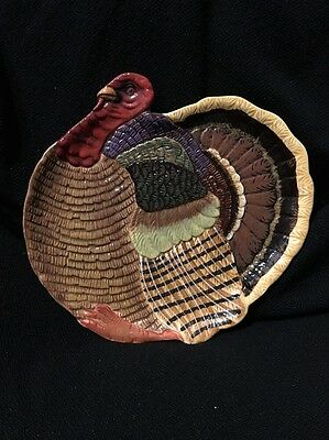 Thanksgiving Turkey Hand Painted Canapy Plate - Candy Dish DEPT 56