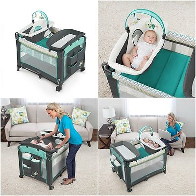 Baby Nursery Bassinet Infant Sleeper Crib Newborn Playard Folding Changing Table