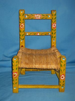 VTG Wooden Child's Chair W/Rush Seat Hand Painted flowers Folk Art MEXICO Yellow