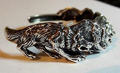 Kabana Sterling Silver Cast Wolf Pack Animal Cuff Bracelet 3 Dimensional