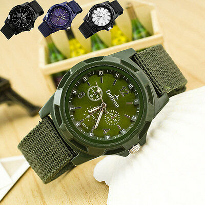 Men's Stainless Steel Military Army Sport Braided Canvas Belt Analog Wrist Watch