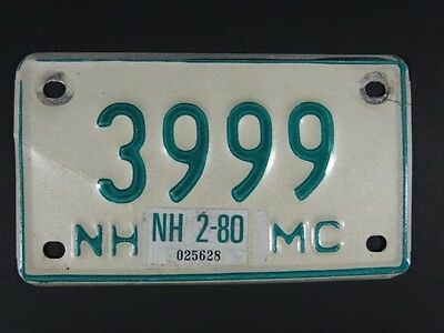 Vintage 1980 Green on White Motorcycle License PLATE # 3999