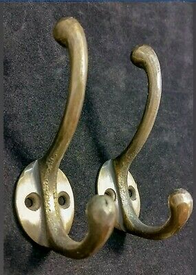 "2 Solid Antique Brass Double Coat Hooks w. Oval Backplate 3"" x 2""  #C9"
