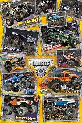 "MONSTER JAM POSTER ""TRUCKS"" LICENSED ""BRAND NEW"" 61 cm X 91.5 cm"