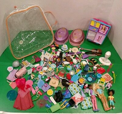 2003 Tara Toys Case Mixed Lot of Dollhouse & Barbie accessories & Dolls LPS etc.