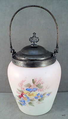 "Victorian Mt Washington 9"" Biscuit Jar Flowers Silverplated Lid Handle A J Hall"