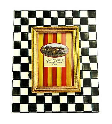 Mackenzie Childs Amazing Courtly Check 4X6 Enamel Frame Brand New Box