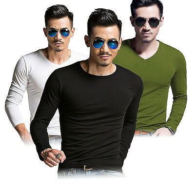 HOT New Men's T-shirt Slim Fit Long Sleeve Casual Muscle Shirt T-shirts Tee Tops
