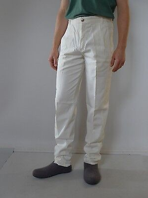 Vintage retro true 80s unused 4 S white denim mens pants high waisted tags Lois