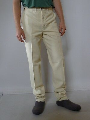 Vintage retro true 1980s S M 32 unused yellow linen mens pants Lois narrow leg