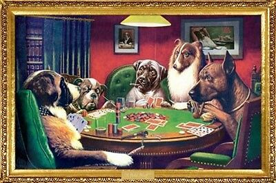 "DOGS PLAYING POKER POSTER ""BRAND NEW"" LARGE ""61 cm X 91.5 cm"" LICENSED"