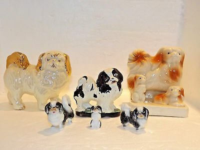 Vintage Pekingese Dog Family Miniature Figurines Ceramic Japan Collectible Gold