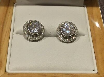2.6 Carat Diamond Earrings, Centre Diamond With Spinning Halo, Clarity Boutique