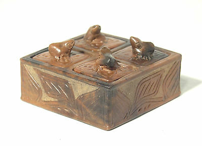 Vintage Four Compartment Ceramic Container with Frog Handled Lids