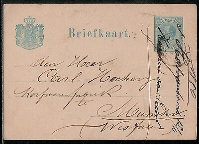 NETHERLANDS 1880 Very Old Used Postal Card with King William III stamp