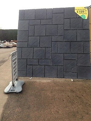 Chalice paving patio kit Welsh Slate 7.29 m2 Grey Black Slabs