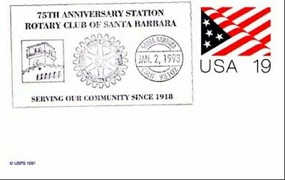 75th Anniv Santa Barbara Ca. 1993  Rotary  Cancel