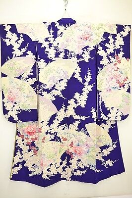 Gorgeous Japanese Furisode/Wedding Kimono Purple Silk 'Fans,Peonies,Ume' M/L