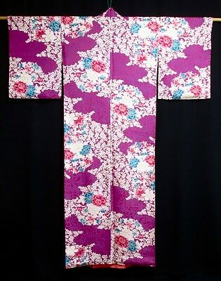 Antique Japanese Purple 'Peonies & Arabesque' Rayon Juban/Kimono/Robe Small GIFT
