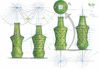 Original signed Pencil / Ink Sketch Art -Geometry Study Of Glass Bottles A3 size