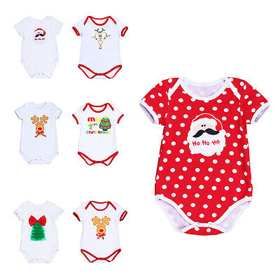 Newborn Baby Romper Christmas Bodysuit Outfit Costume Boy Girl One Piece Clothes