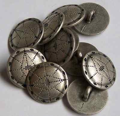 8pc 18mm Viking Shield inspired pewter Colour Metal Button 0010